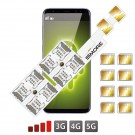 Android Hybride Double SIM slot Adaptateur Octuple Multi Dual SIM Speed ZX-Eight Nano SIM