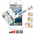 WX-Triple 5S Coque adaptateur triple double SIM pour iPhone 5 et 5S