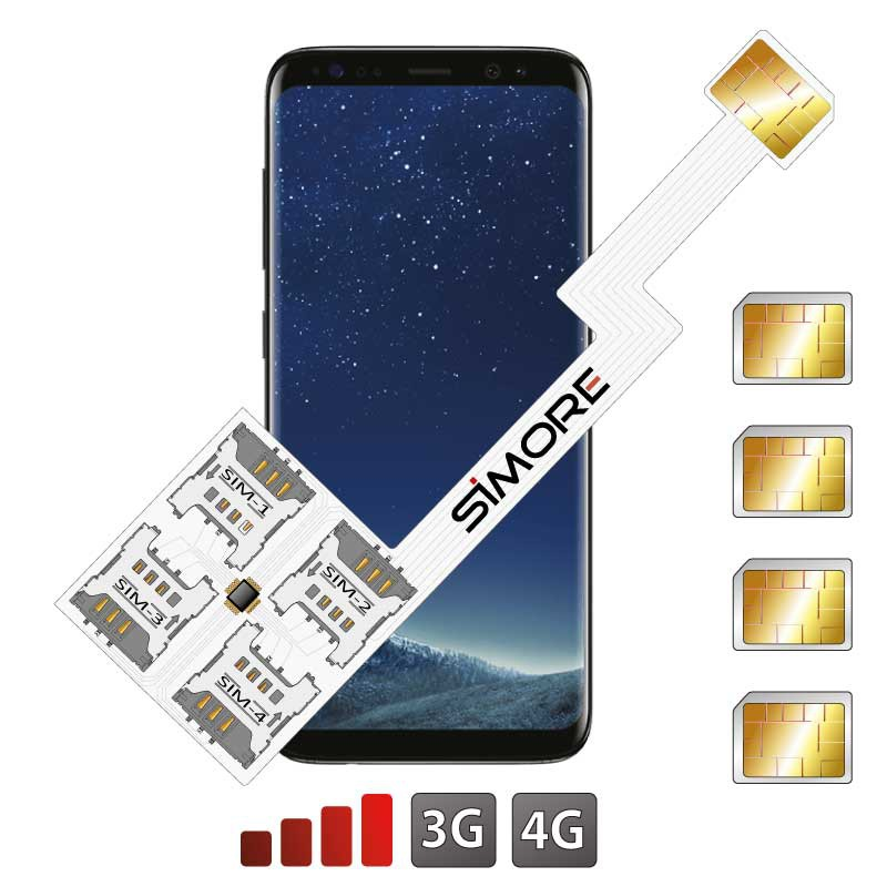 Galaxy S8 Quadruple Dual SIM card adapter Android for Samsung Galaxy S8