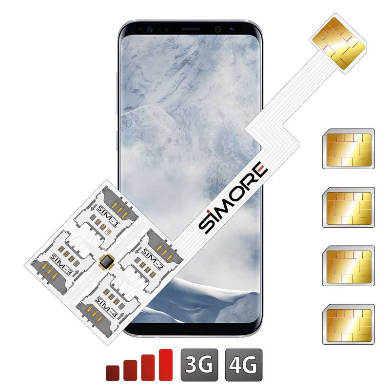 Galaxy S8+ Quadruple Dual SIM card adapter Android for Samsung Galaxy S8+