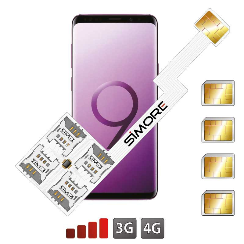 Galaxy S9 Quadruple Dual SIM card adapter Android for Samsung Galaxy S9