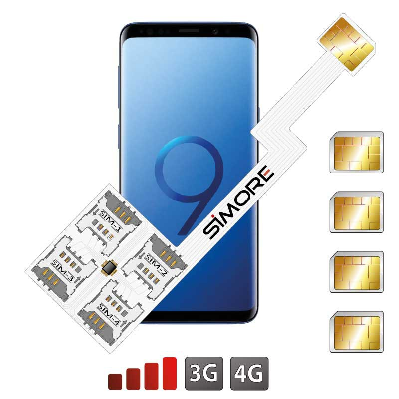 Galaxy S9+ Quadruple Dual SIM card adapter Android for Samsung Galaxy S9+