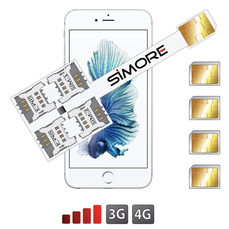 iPhone 6S Quadruple Dual SIM cards adapter 3G - 4G Speed X-Four 6S for iPhone 6S