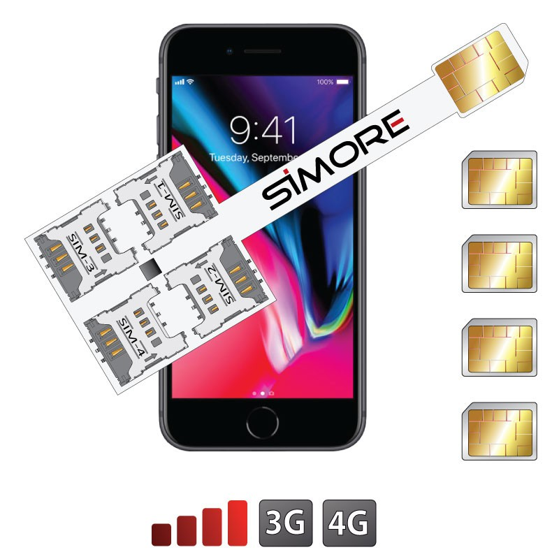 iPhone 8 Quadruple Dual SIM cards adapter 3G - 4G Speed X-Four 8 for iPhone 8