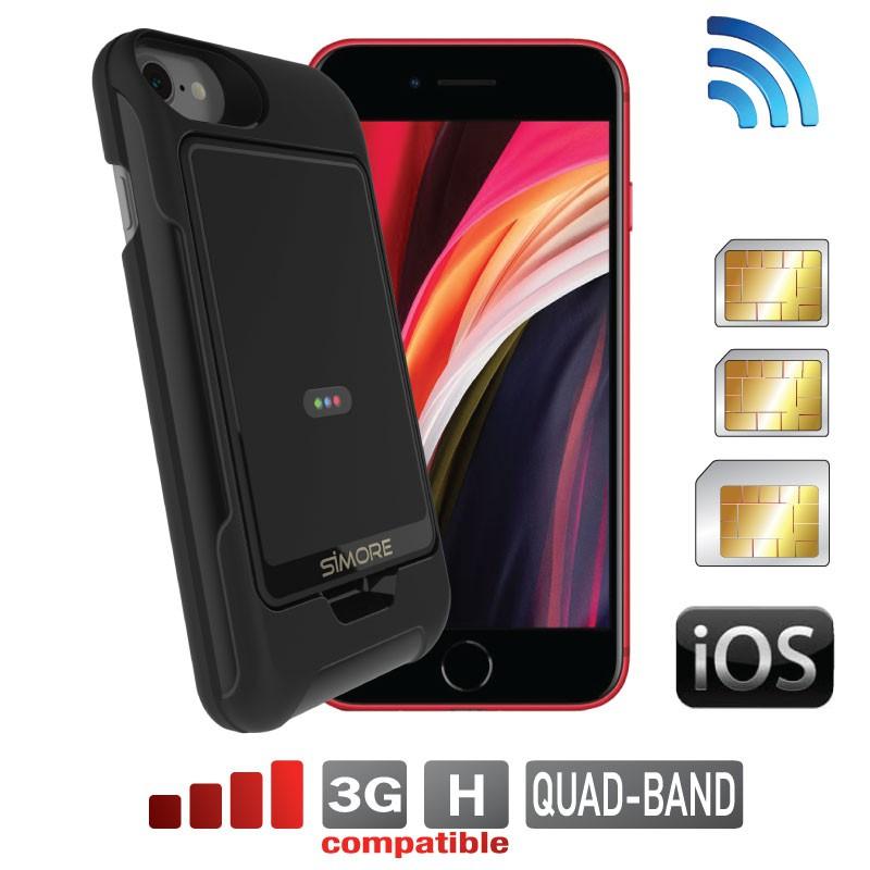 iPhone SE 2020 Dual SIM Triple active simultaneously + case E-Clips Gold Pack SIMore