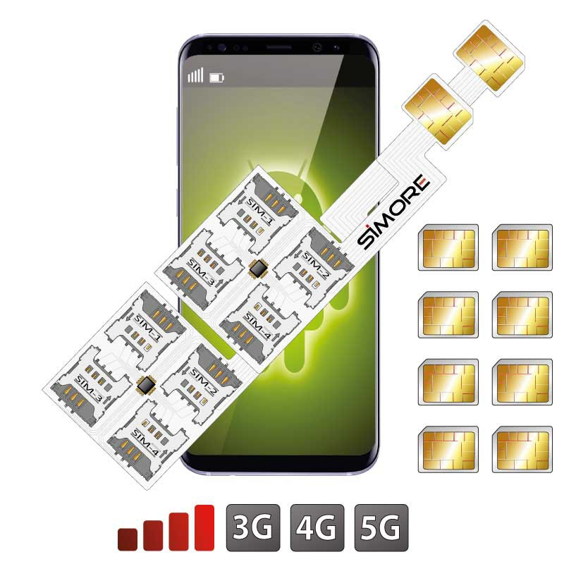 Hybrid DUALSIM Android slot Adapter Octuple Multi SIM Speed ZX-Eight Nano SIM