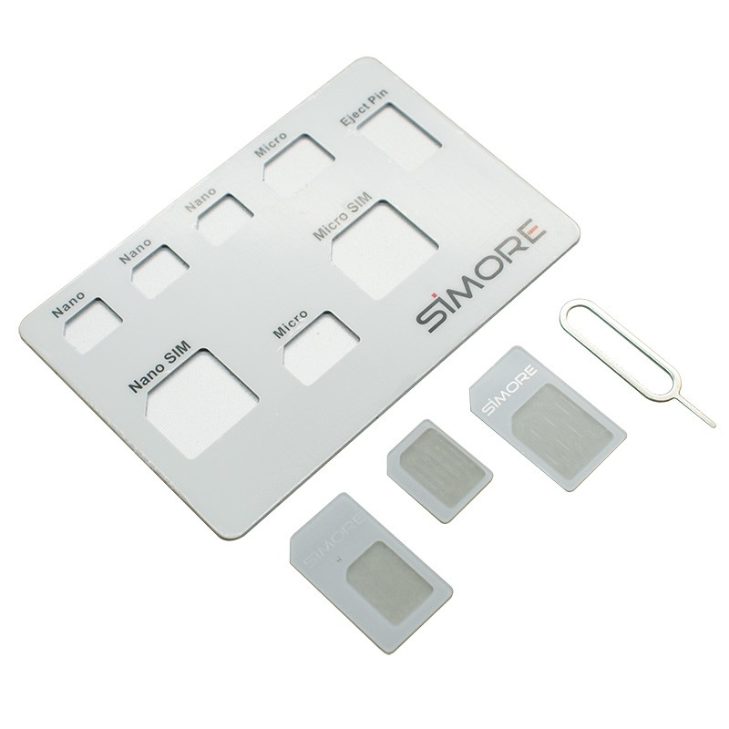 Ultra thin SIM holder for Nano SIM, Micro SIM, standard SIM cards and eject tool SIMore