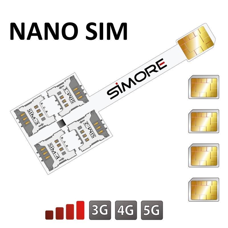 Quadruple SIM card adapter for Nano SIM card cellphones Speed X-Four Nano SIM