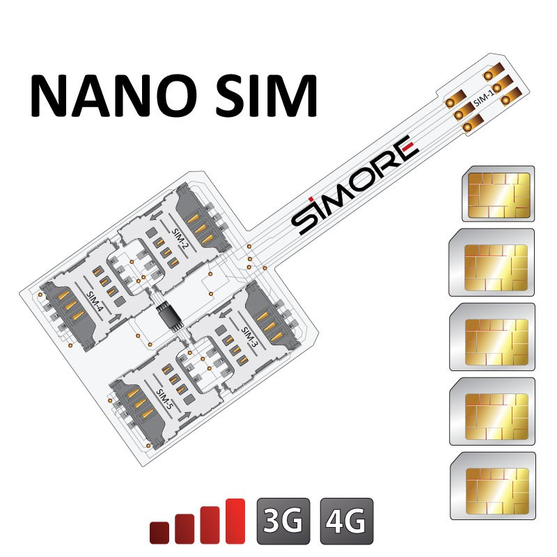 5 SIM cards Multi Dual SIM adapter for Nano SIM mobile phones - WX-Five Nano SIM