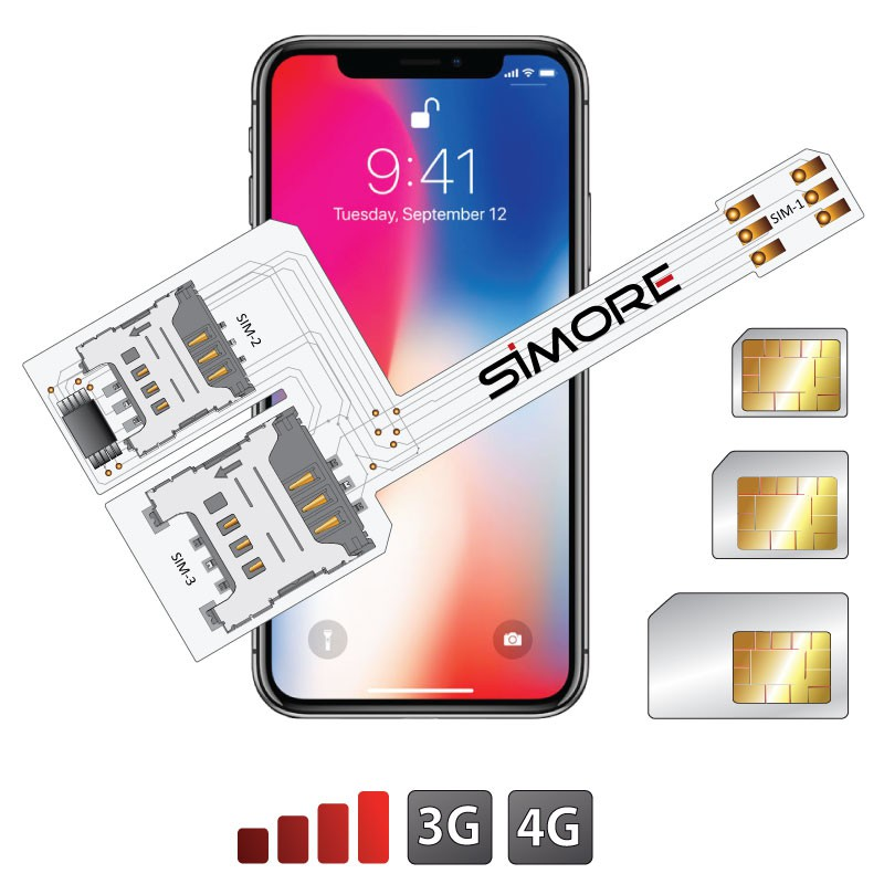 iPhone X Triple Dual SIM adapter WX-Triple X for iPhone X