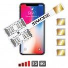 iPhone X Dual SIM quadruple cards adapter 3G - 4G Speed X-Four X for iPhone X iOS