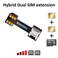 SIM cards and micro SD card extension adapter for hybrid