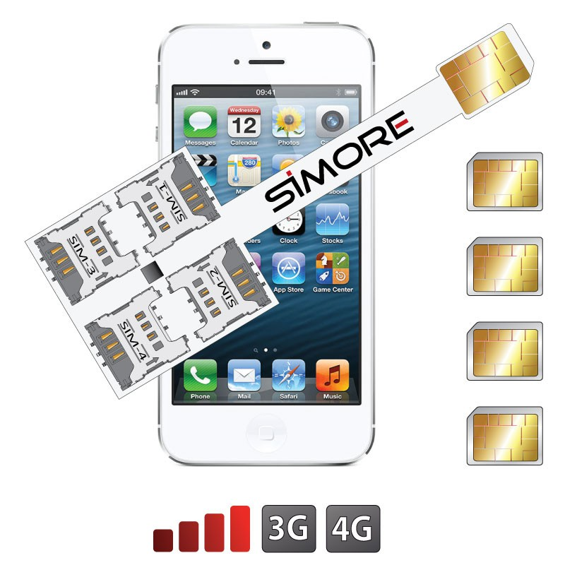 iPhone 5-5S Multi Vierfach SIM karten adapter 4G Speed X-Four 5-5S