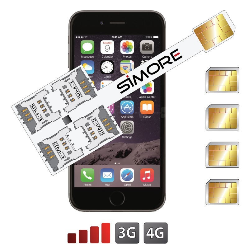 iPhone 6 Plus Multi-sim Vierfach SIM karten adapter 4G Speed X-Four 6 Plus