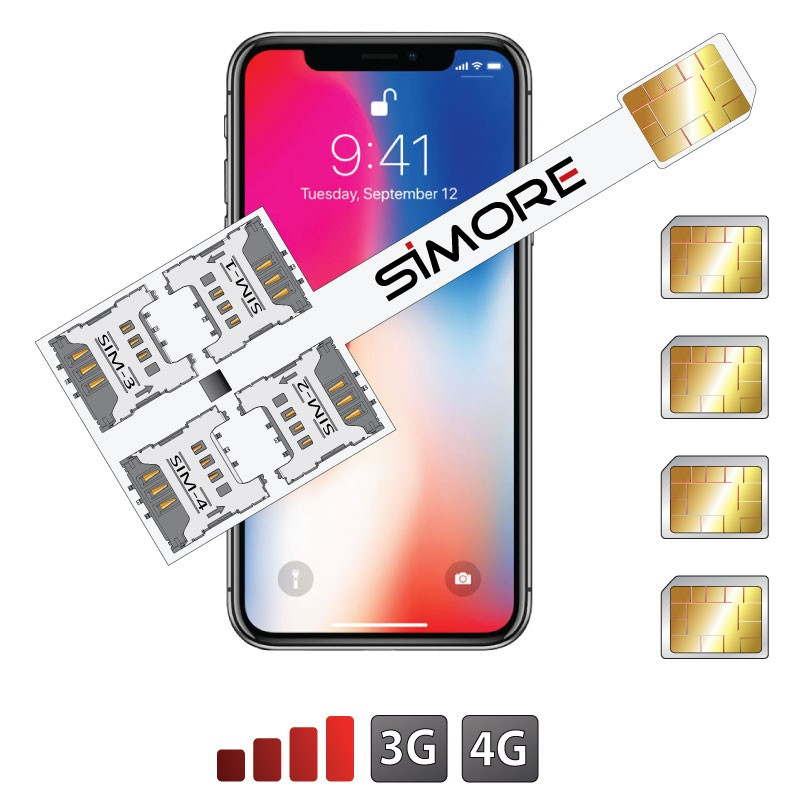 iPhone X Multi Vierfach SIM karten adapter 4G Speed X-Four X