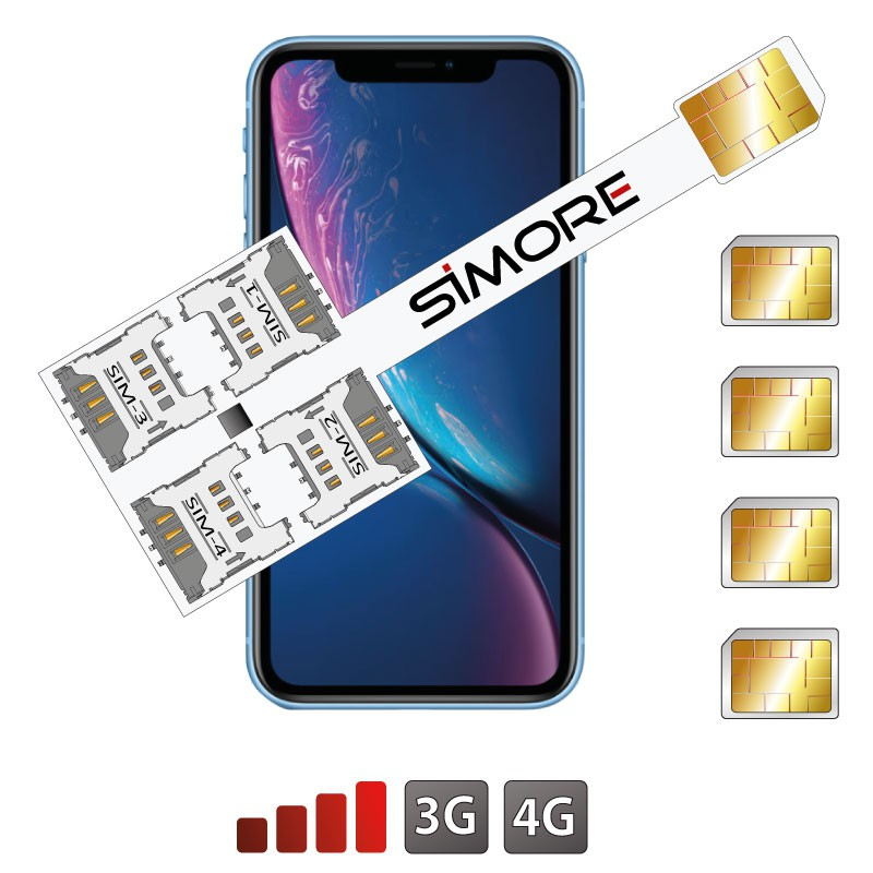 iPhone XR Multi Vierfach Dual SIM karten adapter 4G Speed X-Four XR