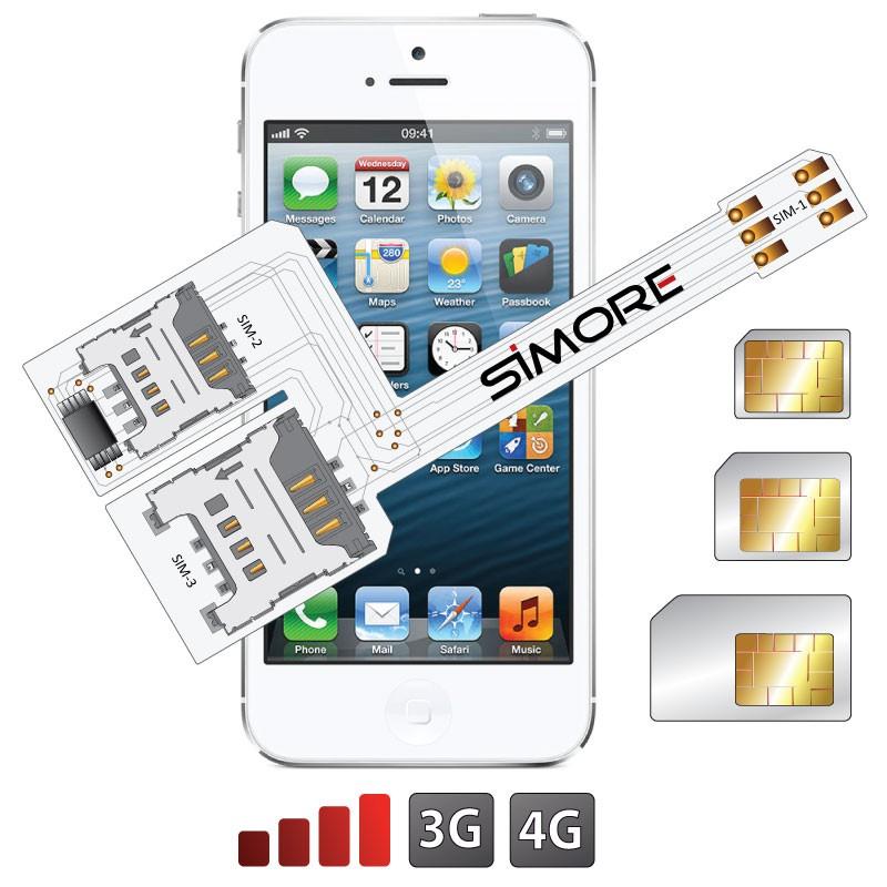 WX-Triple 5S Schutzhülle Dreichfach dual SIM karte adapter für iPhone 5 und 5S