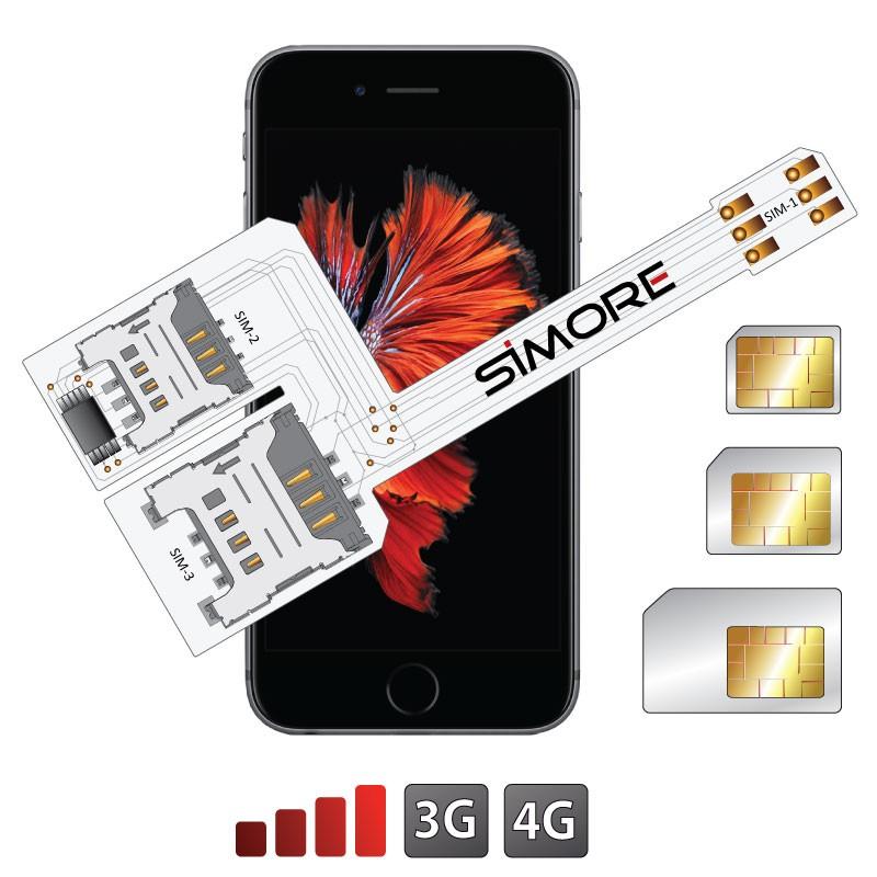 WX-Triple 6S Plus Schutzhülle Dreichfach dual SIM karte adapter für iPhone 6S Plus
