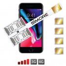 iPhone 8 Multi Vierfach SIM karten adapter 4G Speed X-Four 8
