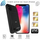 iPhone X Dual SIM Bluetooth Schutzhülle adapter und Wi-Fi Router MiFi fuer DATA INTERNET Gleichzeitige Verbindung