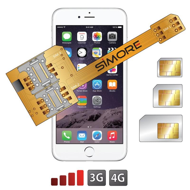 X-Triple 6 Adattatore doppia tripla scheda SIM per iPhone 6