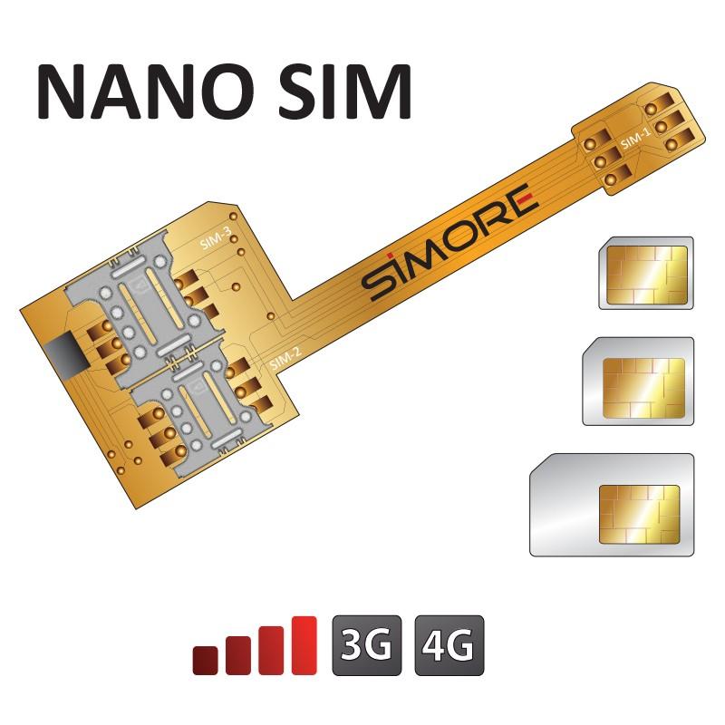 Adattatore Triple Doppia SIM per smartphone Nano SIM