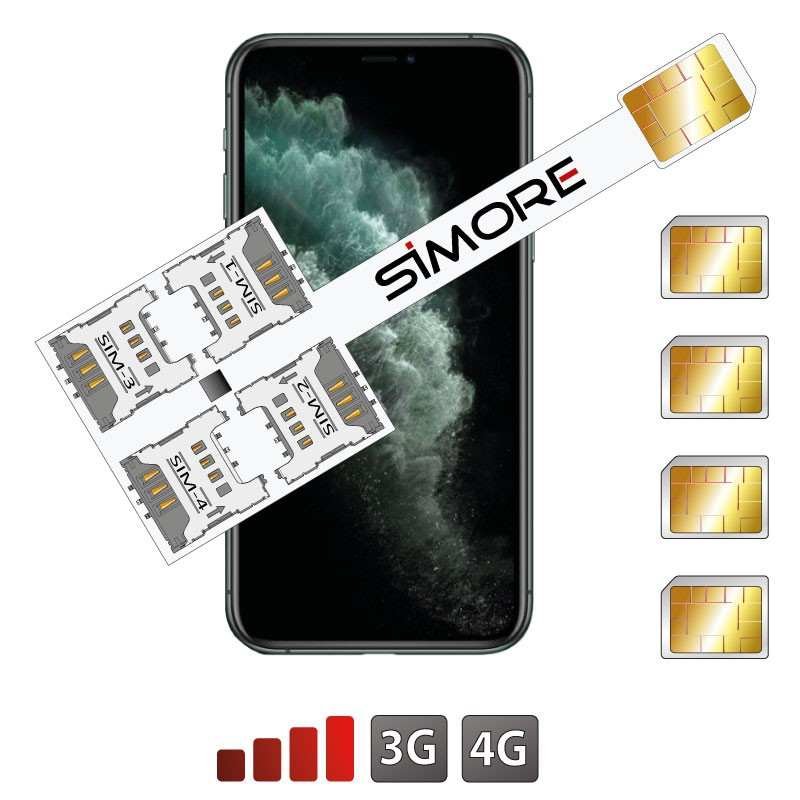 iPhone 11 Pro Multi Quadrupla SIM adattatore SIMore Speed X-Four 11 Pro