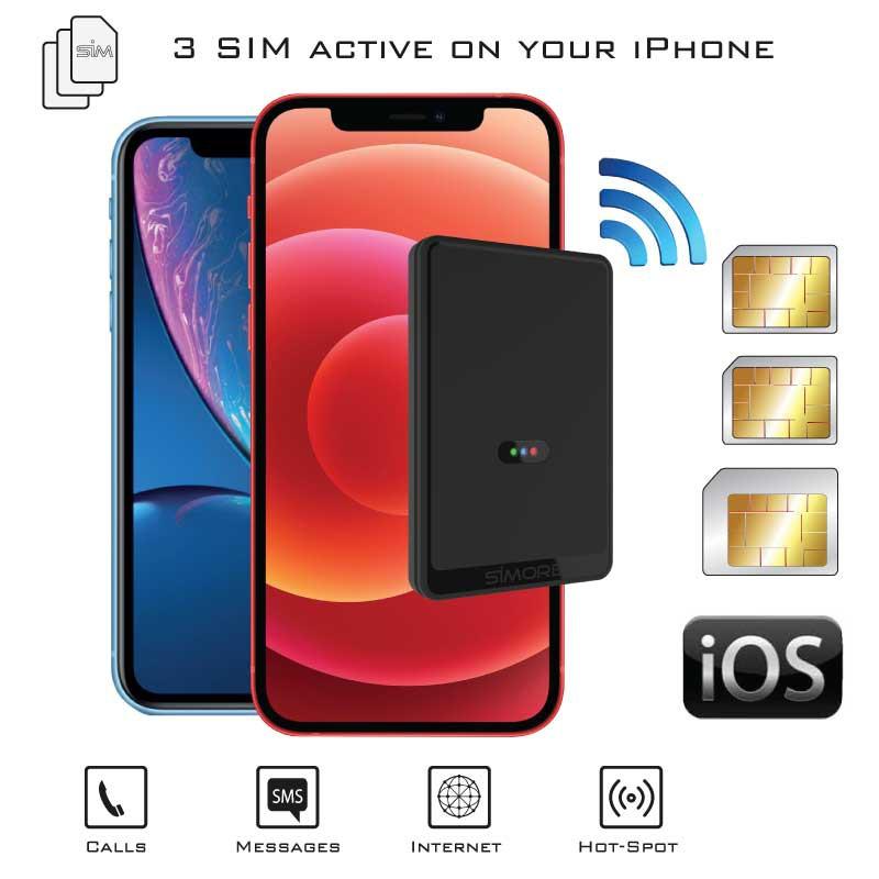 Doppia SIM iPhone Bluetooth Adattatore con Tre numeri attive contemporaneamente
