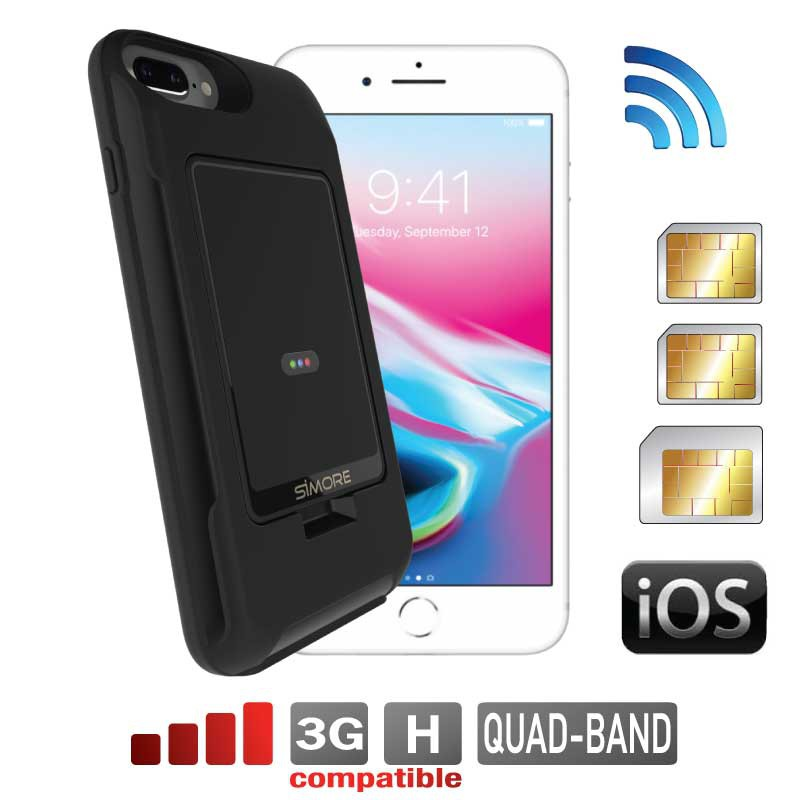 iPhone 8 7 6 6S Plus Doppia SIM adattatore bluetooth Custodia e MiFi Wifi hotspot E-Clips Gold