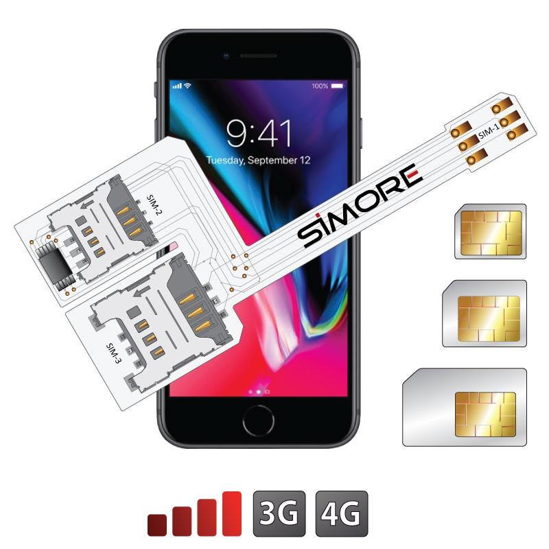 iPhone 8 Tripla doppia SIM adattatore WX-Triple 8 per iPhone 8