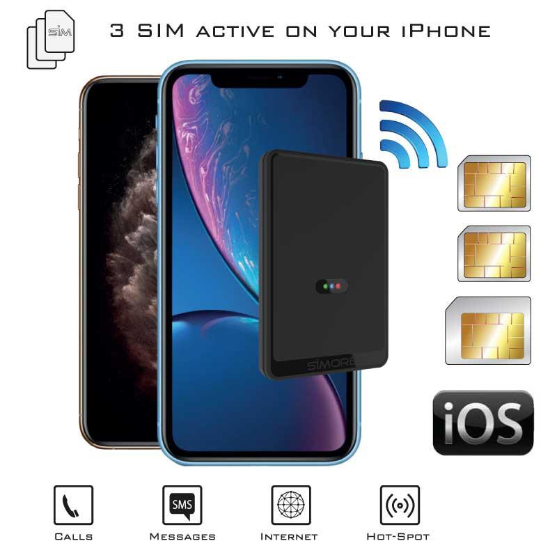 iPhone Doppia SIM Bluetooth Adattatore con Tre numeri attive contemporaneamente