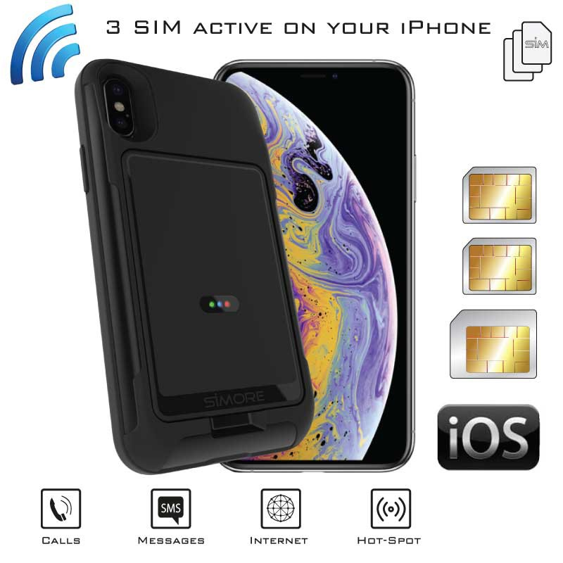 iPhone XS Doppia SIM Attive Bluetooth Adattatore Custodia Tripla Simultanea e Wi-Fi Router MiFi  HotSpot