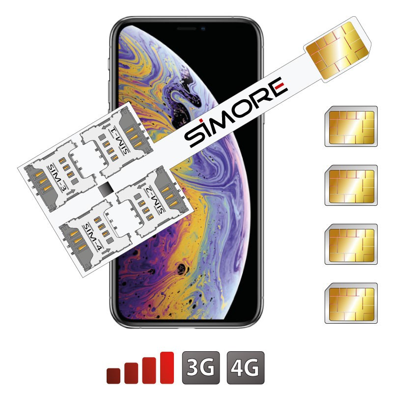 iPhone XS Multi Quadrupla doppia SIM adattatore 4G Speed X-Four XS per iPhone XS