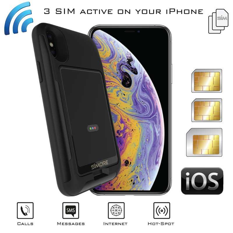 iPhone XS Doppia SIM Bluetooth Attive Custodia Adattatore e E-Clips Gold WiFi Router MiFi Hotspot