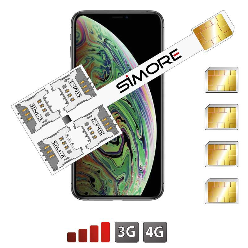 iPhone XS Max Quadrupla Multi doppia SIM adattatore 4G Speed X-Four XS Max per iPhone XS Max