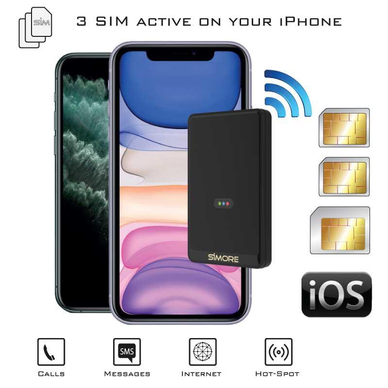 iPhone Doppia SIM Contemporaneamente Bluetooth Adattatore con due numeri attive simultaneamente E-Clips Gold