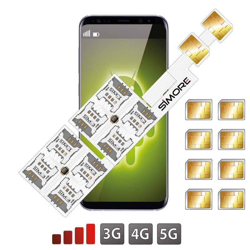 Doppia SIM ibrido Slot Android Adattatore Ottuplo Multi 8 SIM Speed ZX-Eight Nano SIM