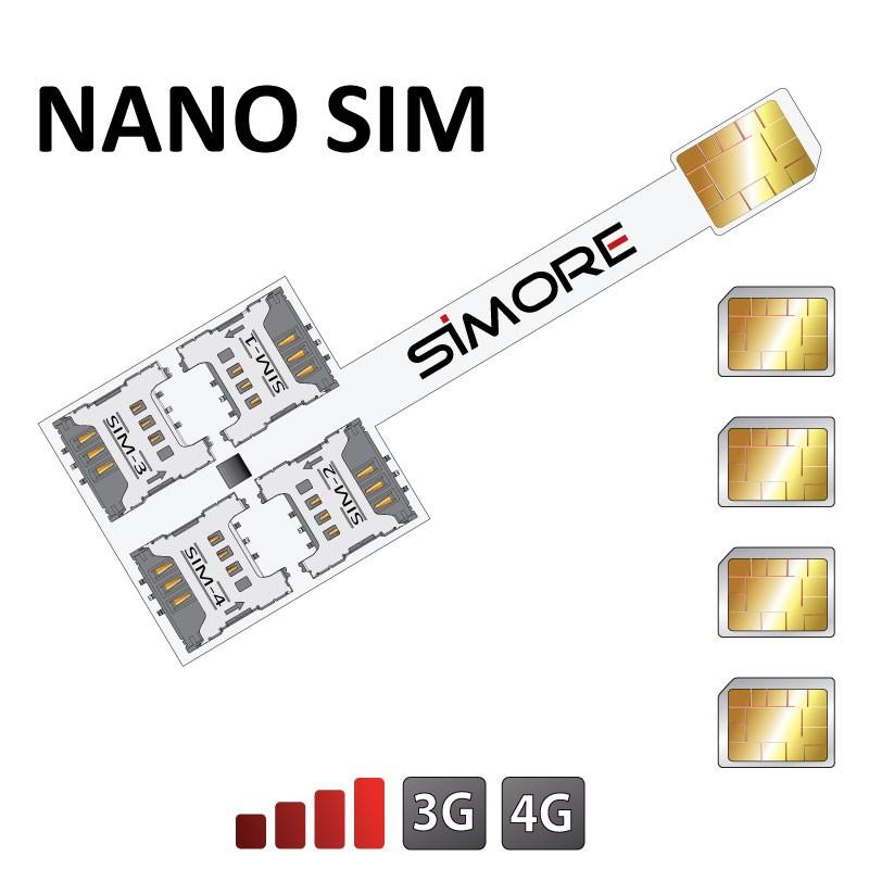 Speed X-Four Nano SIM Adattatore Quadrupla SIM per cellulari Nano scheda SIM