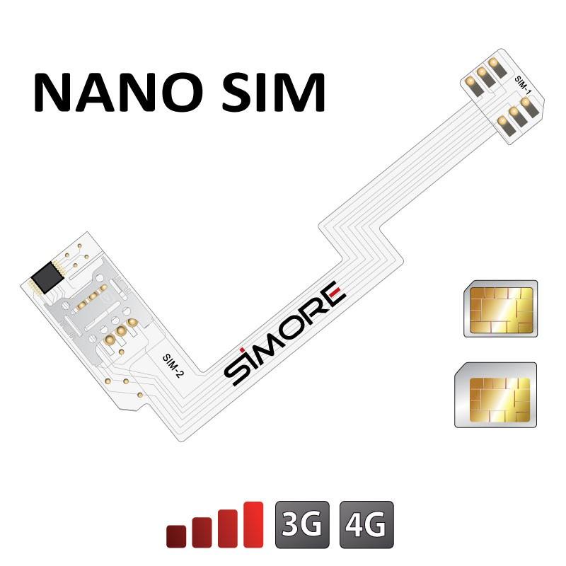 ZX-Twin Nano SIM Adattatore Dual SIM 4G per smartphone Android formato nano SIM