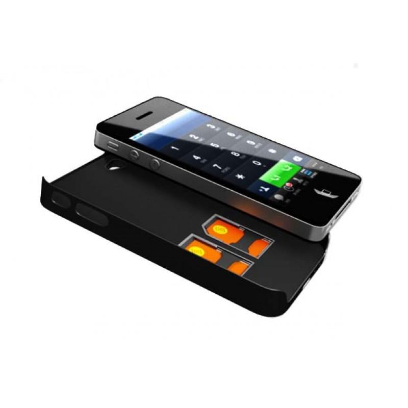 TripleBlue Case 4 Funda adaptador triple dual SIM activa para iPhone 4 y 4S
