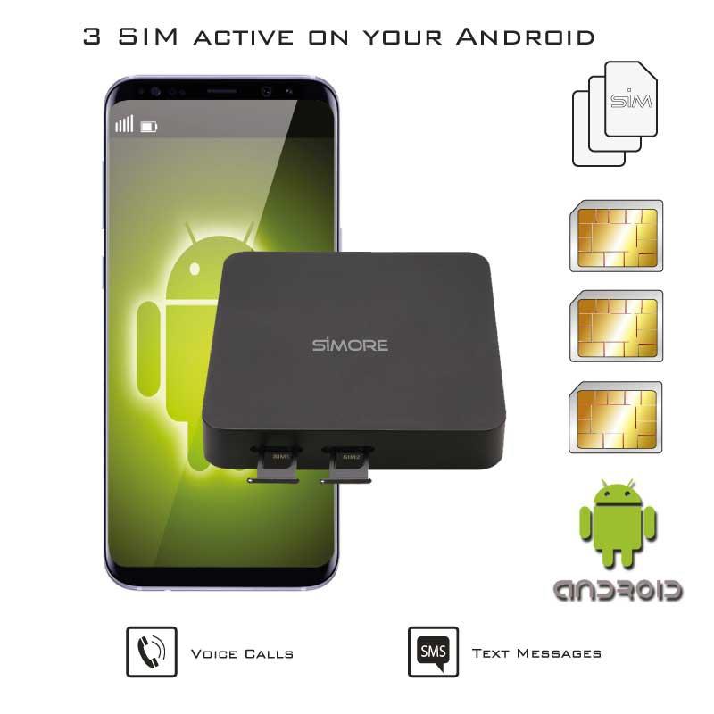 Android Doble SIM Activas Adaptador Simultáneamente Router Convertidor DualSIM@home Android