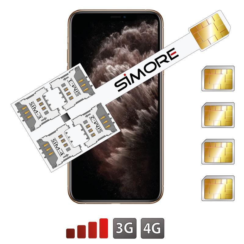 iPhone 11 Pro Max Adaptador Cuádruple Multi-SIM SIMore Speed X-Four 11 Pro Max