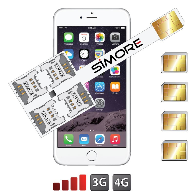 iPhone 6 Cuádruple SIM adaptador Speed X-Four 6 para iPhone 6