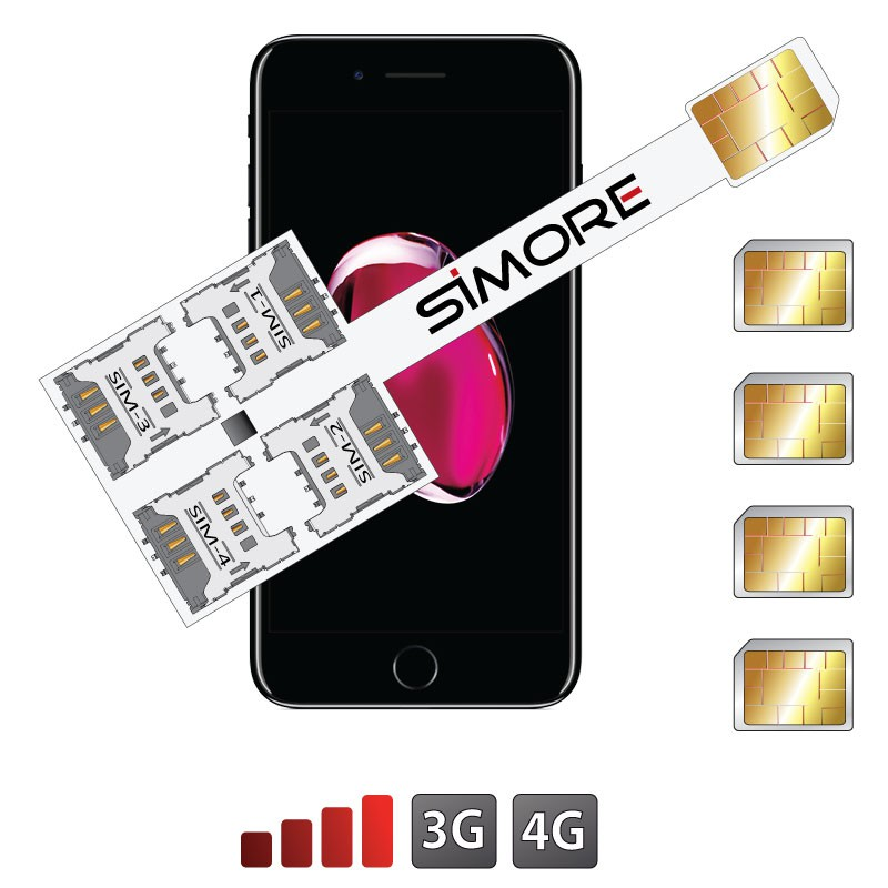 iPhone 7 Plus Adaptador Cuádruple Multi-SIM Speed X-Four 7 Plus para iPhone 7 Plus