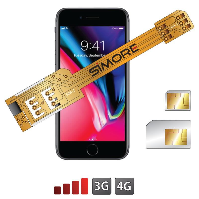 iPhone 8 Doble SIM adaptador 3G 4G SIMore X-Twin 8