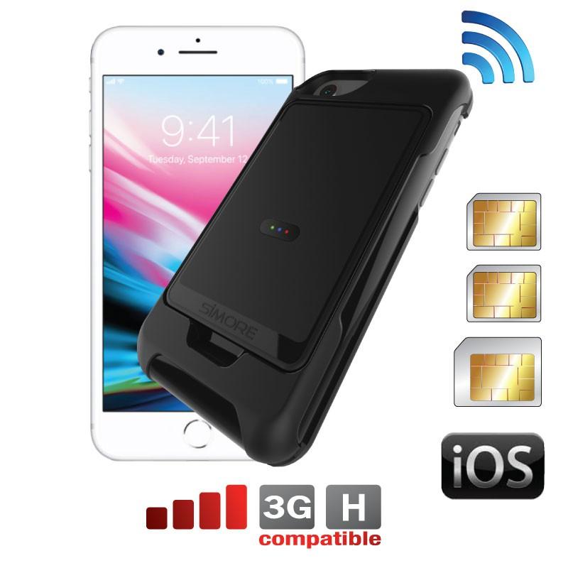 iPhone 8-7-6-6S Doble triple SIM funda adaptador E-Clips Box + E-Clips Case