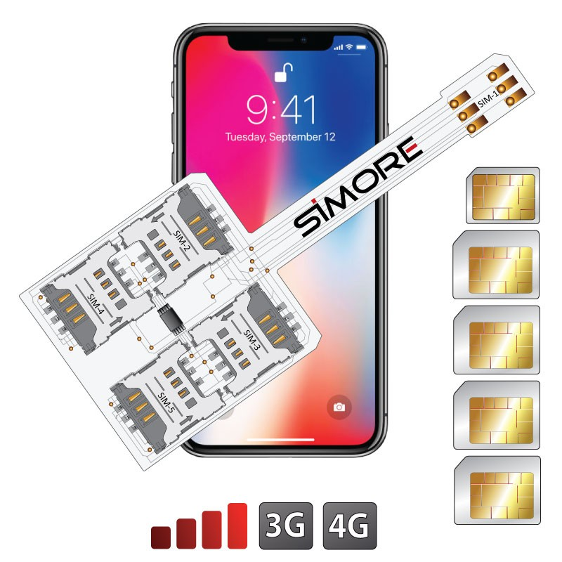iPhone X multi doble SIM adaptador WX-Five X para iPhone X con 5 SIMs