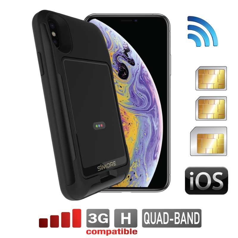 iPhone XS doble sim funda adaptadore bluetooth Wi-Fi router W-LAN E-Clips Gold