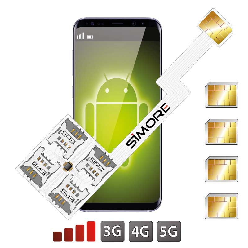 Multi SIM Android Cuádruple Adaptador Speed ZX-Four Nano