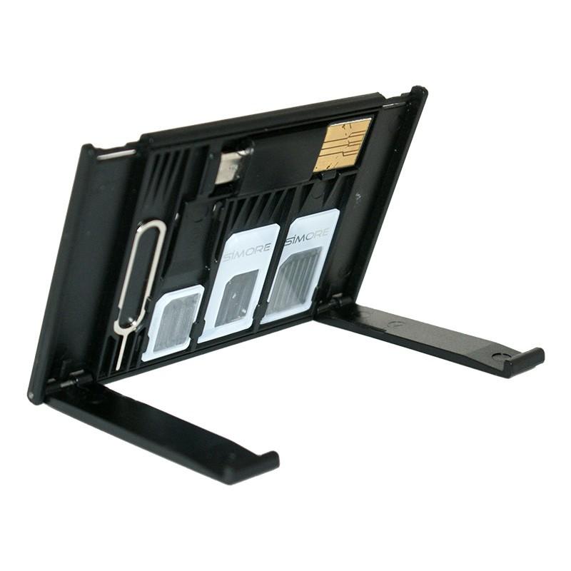 Soporte para móvil Porta tarjetas SIM + lector de tarjetas Micro SD SIMore